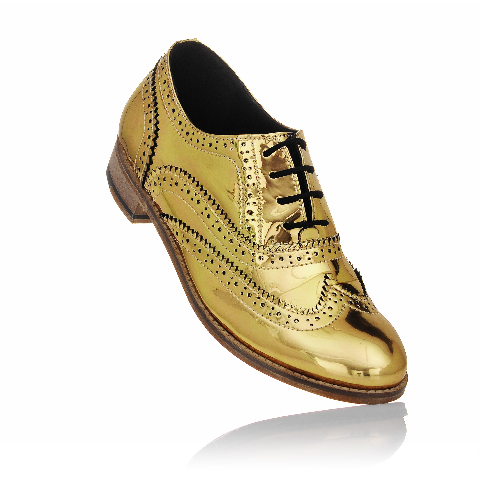 luke grant muller s chrome gold metallic brogue shoes
