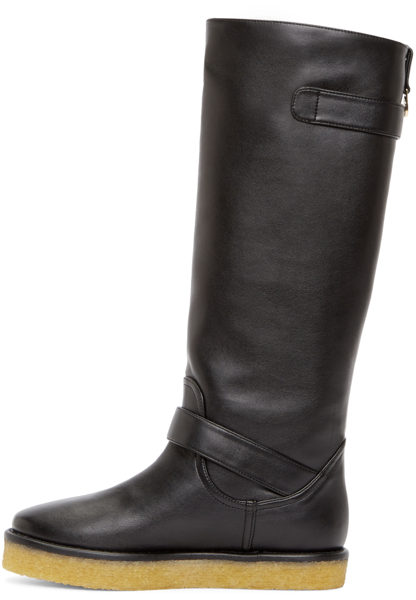Lyst Stella Mccartney Black Crepe Rubber Boots In Black