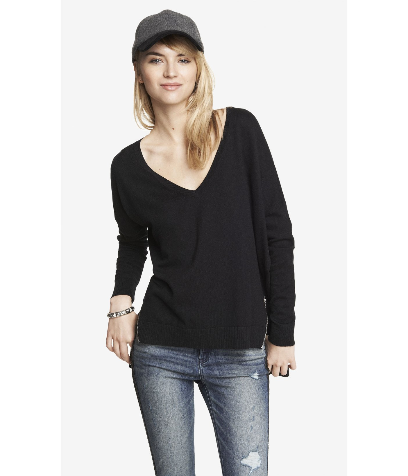 Express V-Neck Double Zip Vent Tunic Sweater in Black | Lyst