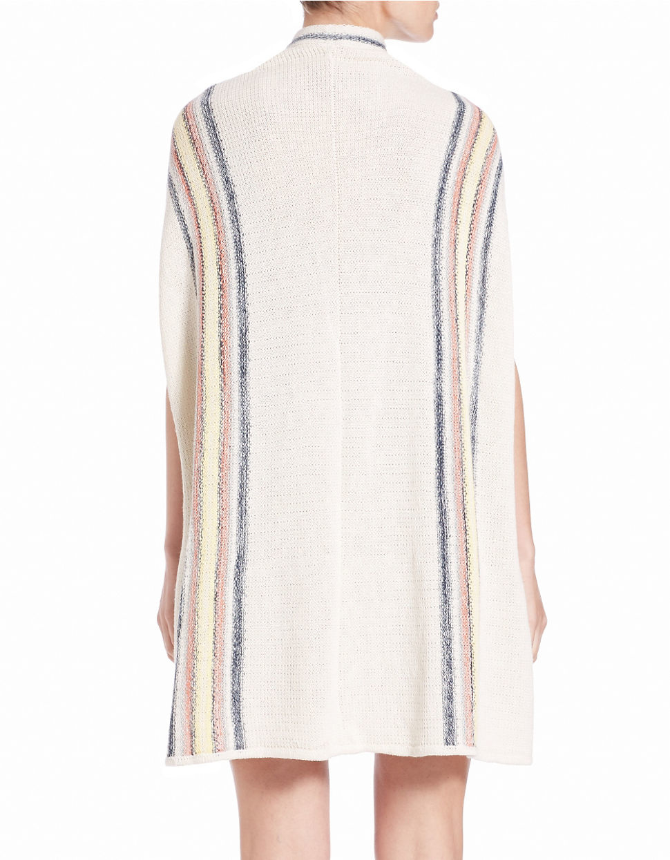 db66cb5532 Free People Striped Poncho Sweater in White - Lyst