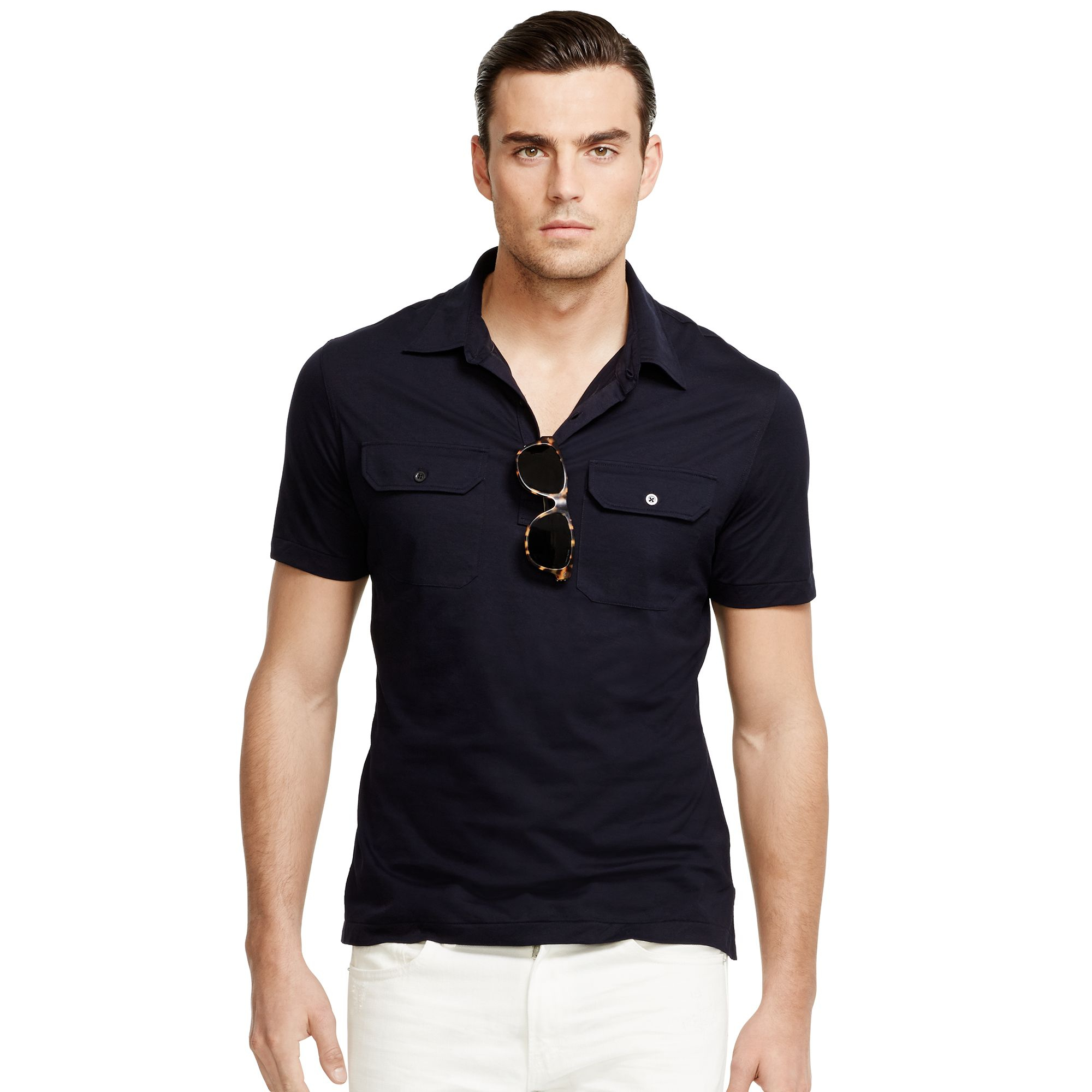 Ralph lauren black label military polo shirt in blue for for Ralph lauren black label polo shirt