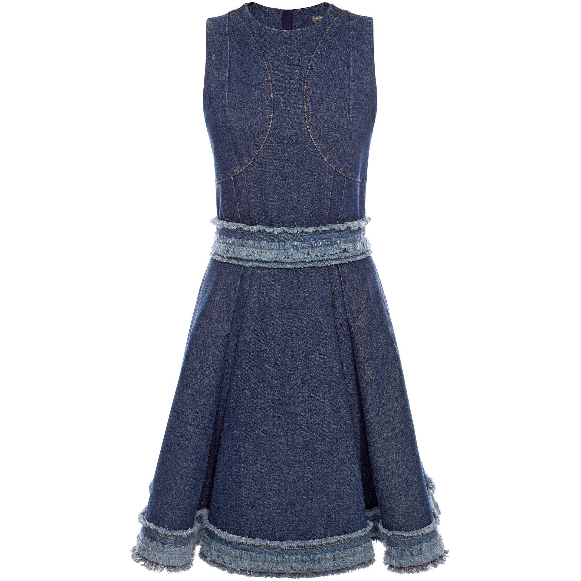 Alexander Mcqueen Frayed Denim Dress In Blue Lyst
