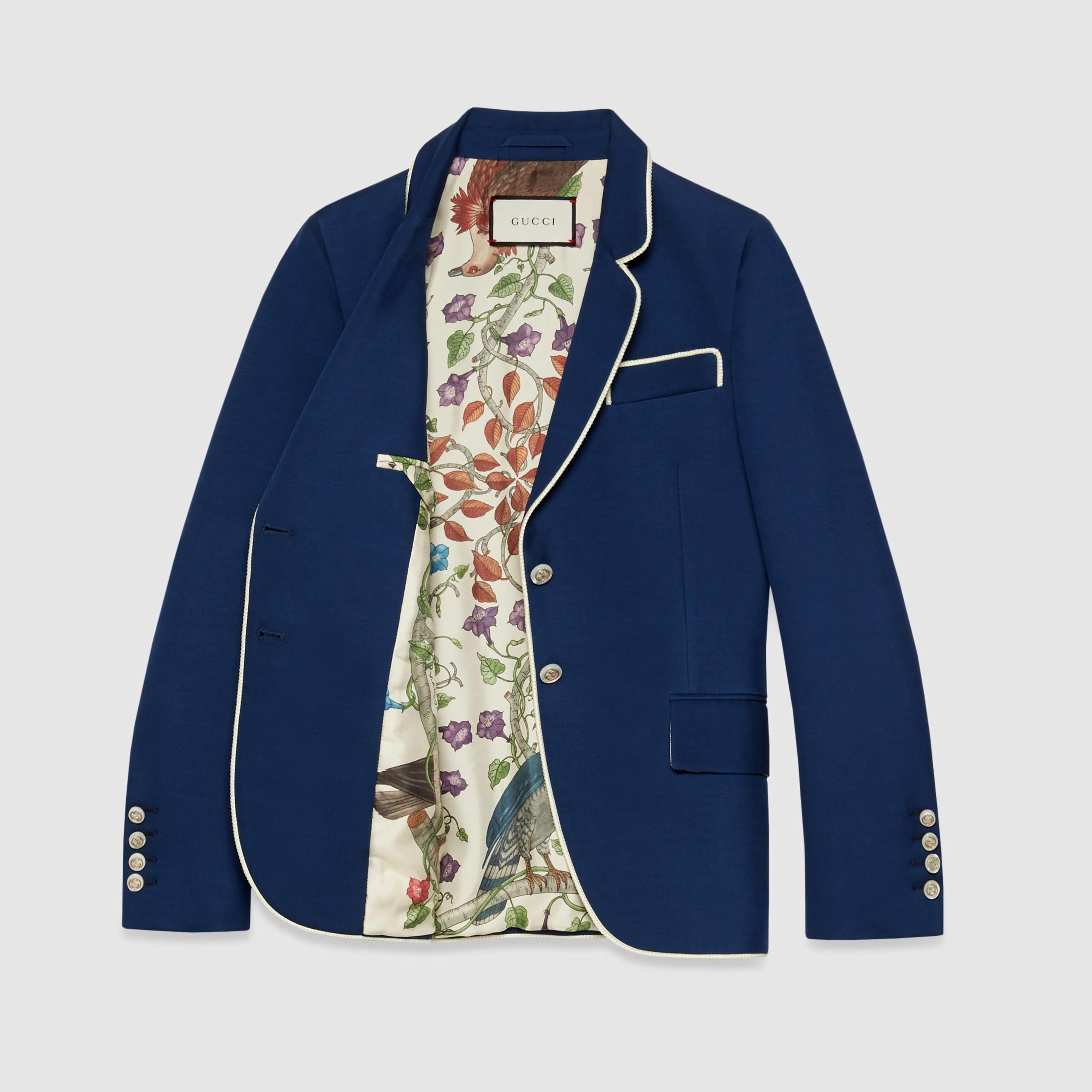 Lyst - Gucci Silk-wool Jacket in Blue 4c93af5bb