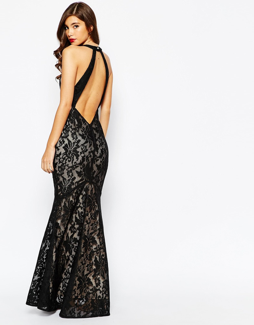 Lyst jarlo carmelita halterneck lace maxi dress with open back in be inspired ombrellifo Gallery