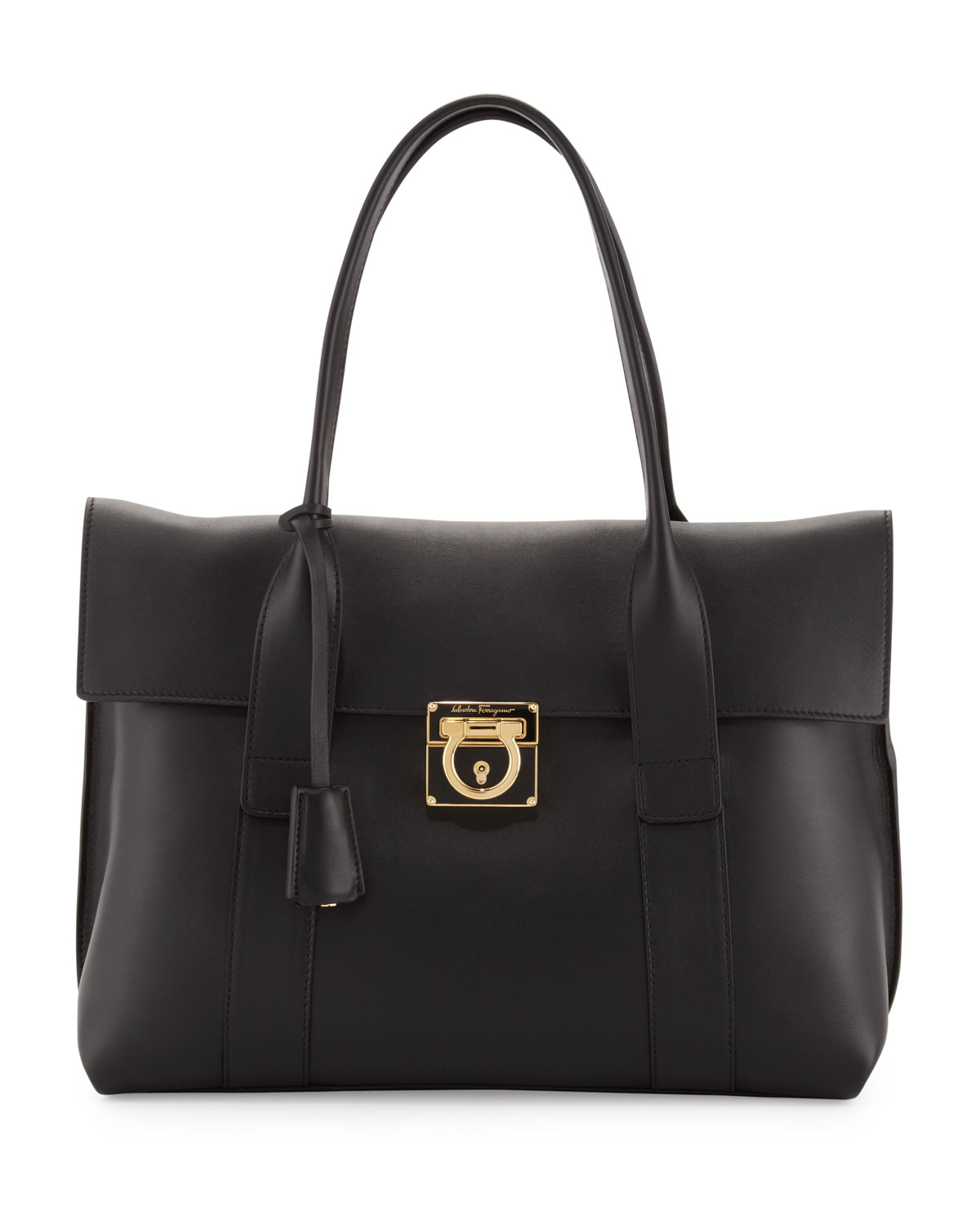 23840e496b76 Lyst - Ferragamo Sookie Medium Leather Satchel Bag Black in Black