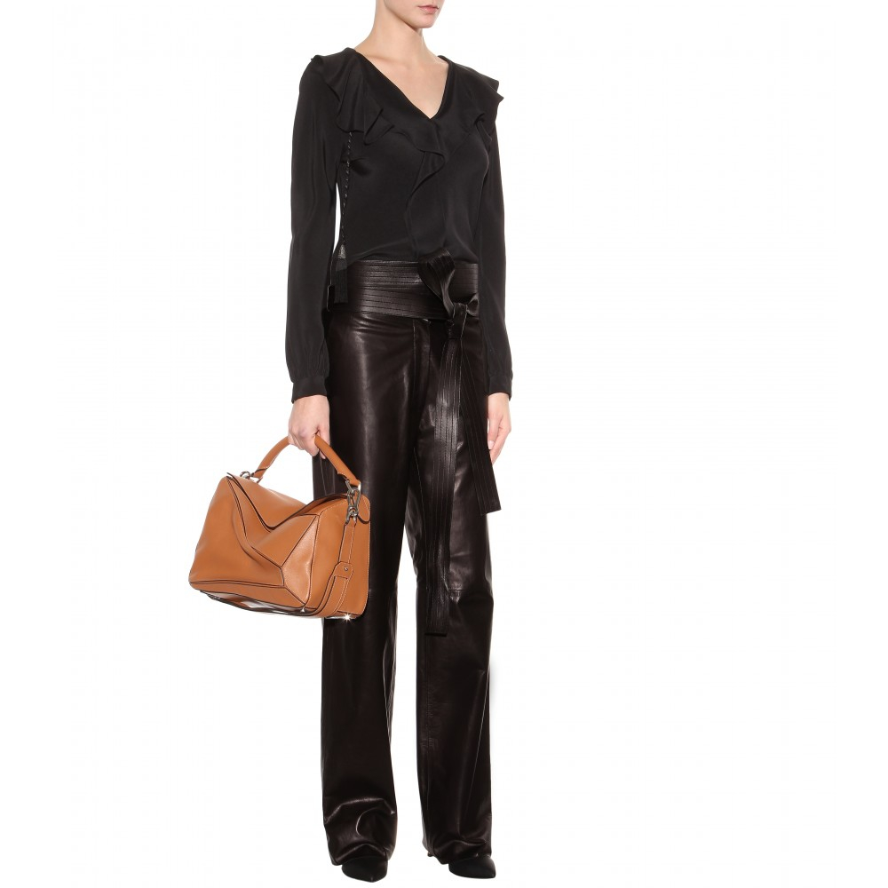 Loewe Judo Wide-Leg Leather Trousers in Black | Lyst