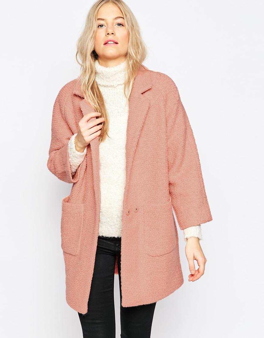 Ganni Woollen Double Pocket Coat in Pink | Lyst