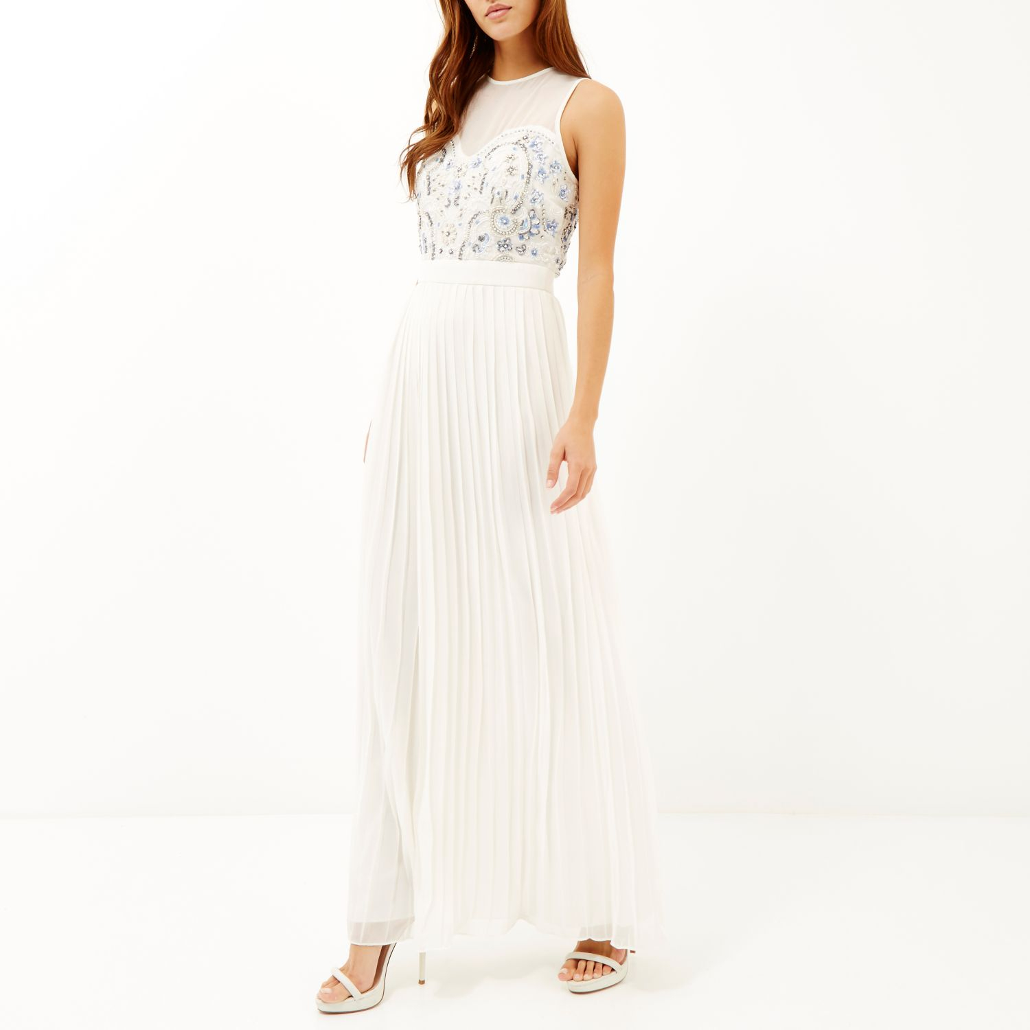 River Island White Sequin Embellished Pleated Maxi Dress In White Lyst