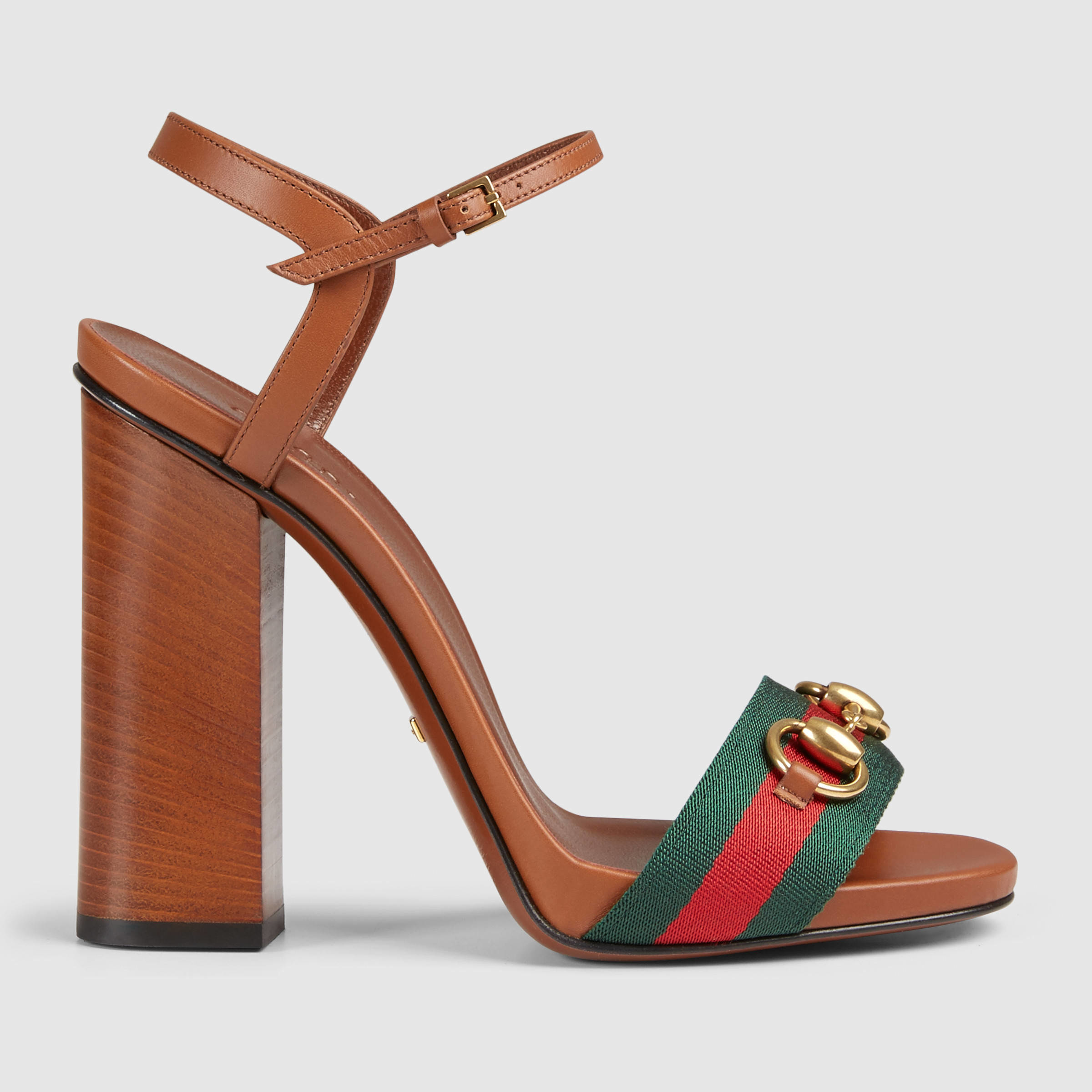 7579d1cf7 Gucci Leather T-strap Sandal in Brown - Lyst
