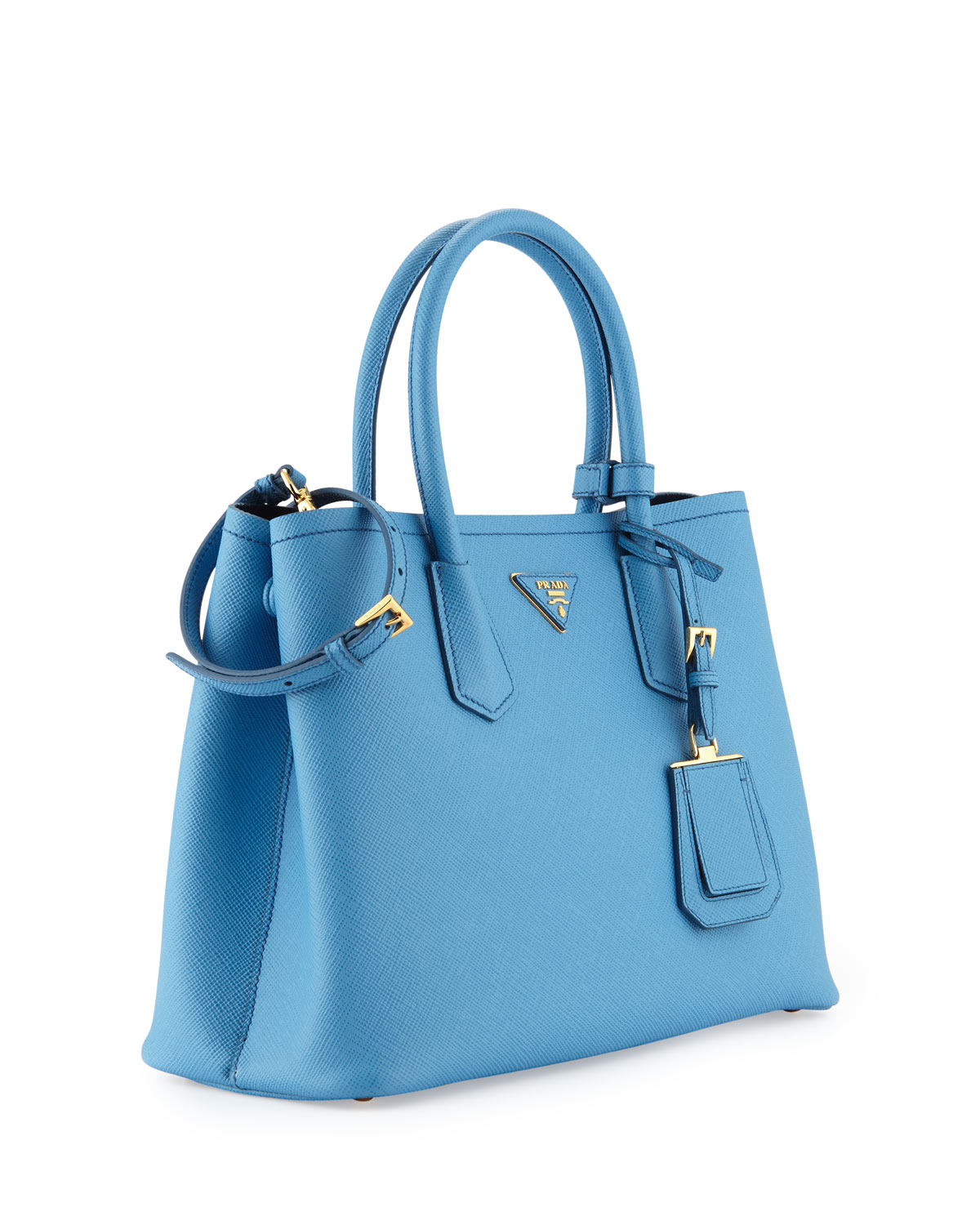 prada crossbody satchel - Prada Saffiano Cuir Double Small Tote Bag in Blue (MARE/BLUETTE ...