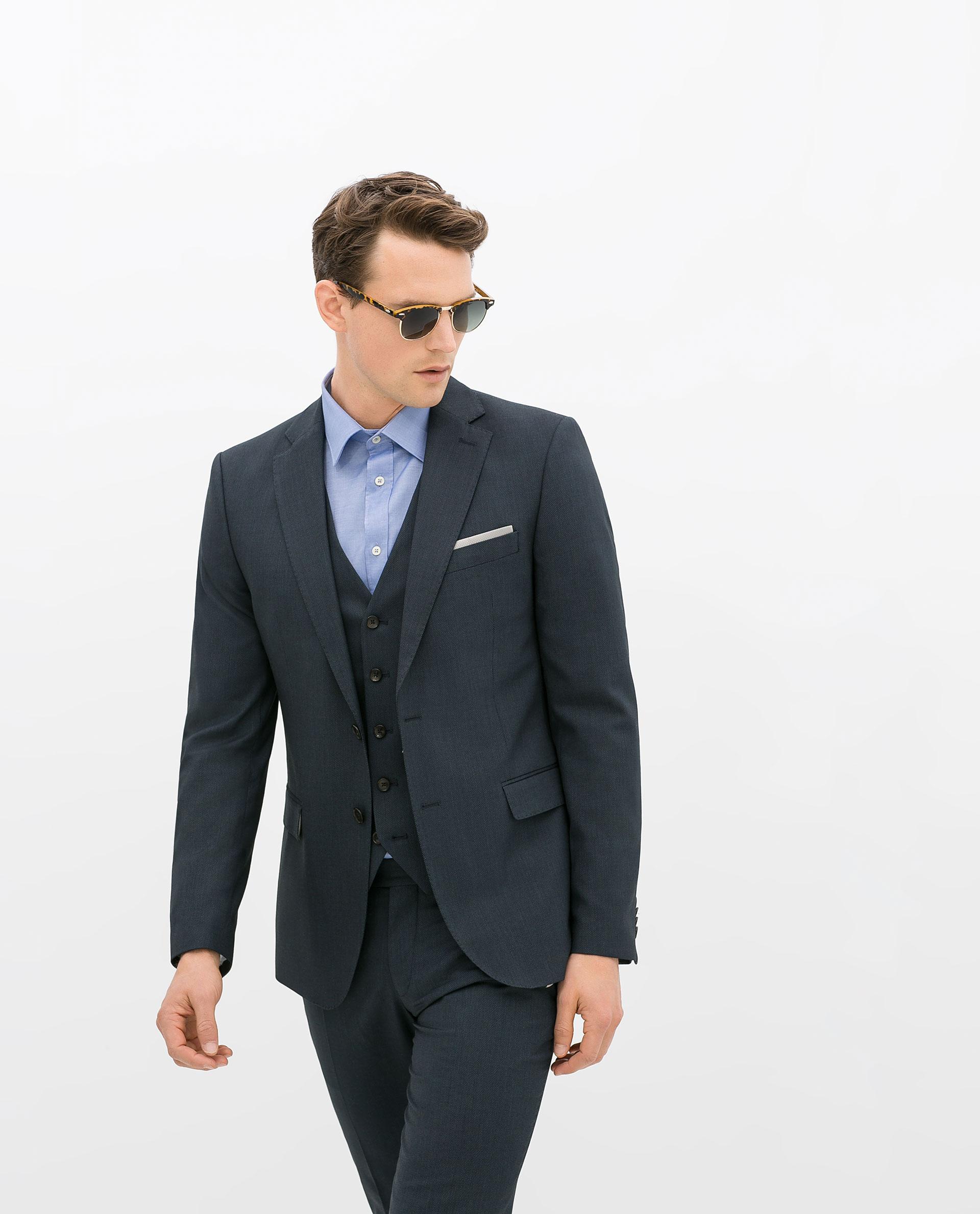 Zara Birdseye Suit Blazer in Blue for Men | Lyst