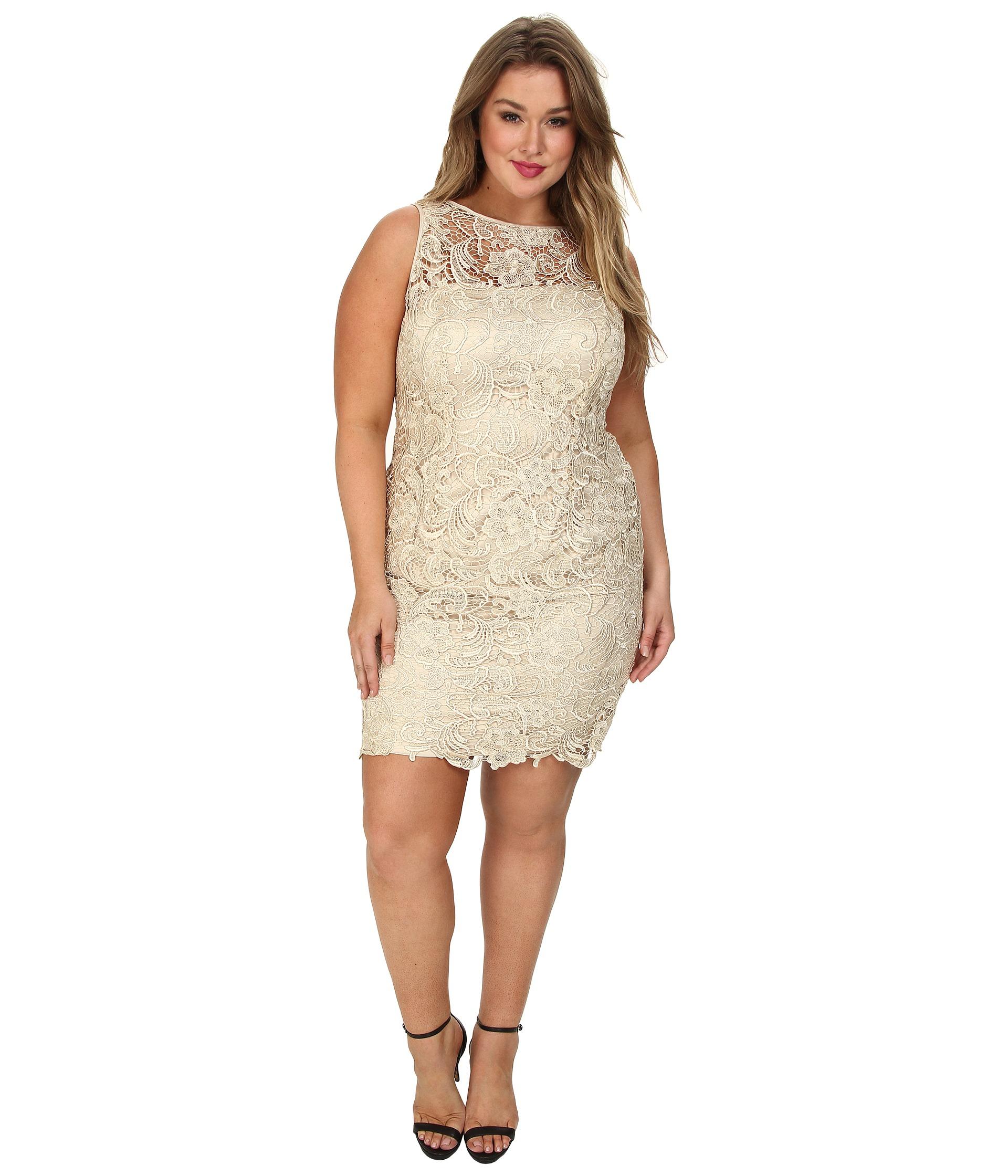 Adrianna Papell Metallic Plus Size Illusion Neck Lace Dress