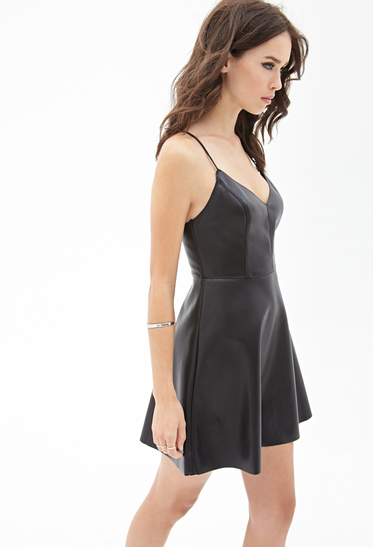 4ec30a851248 Forever 21 Faux Leather Cami Dress in Black - Lyst