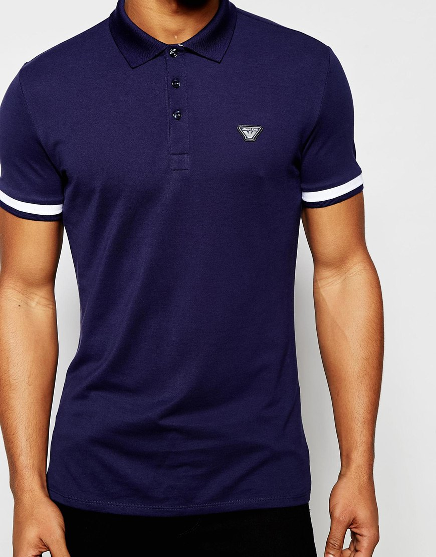 Lyst Armani Jeans Polo Shirt With Tipped Cuff Slim Fit