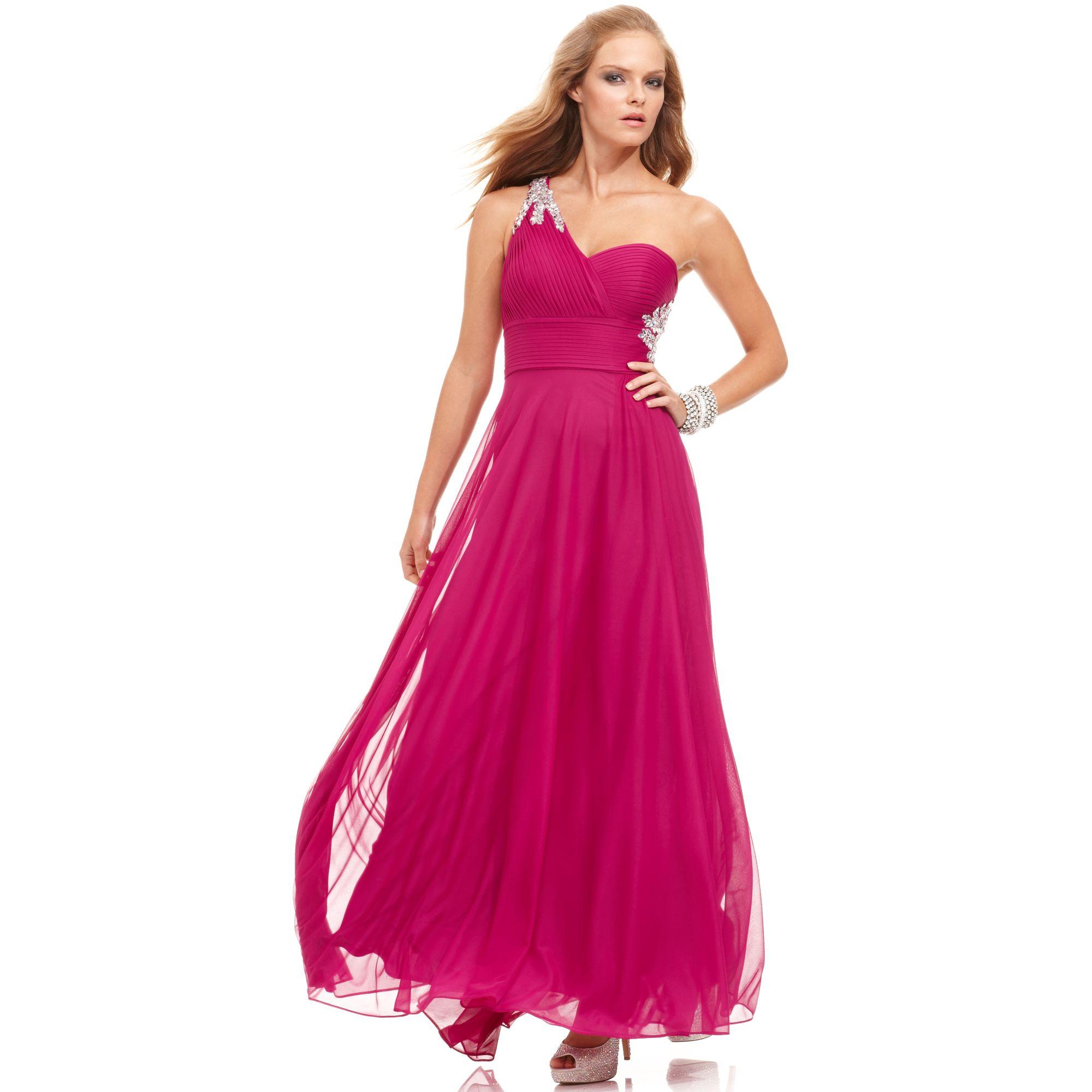 Xscape Sleeveless One Shoulder Beaded Gown Dress in Purple (Iris ...