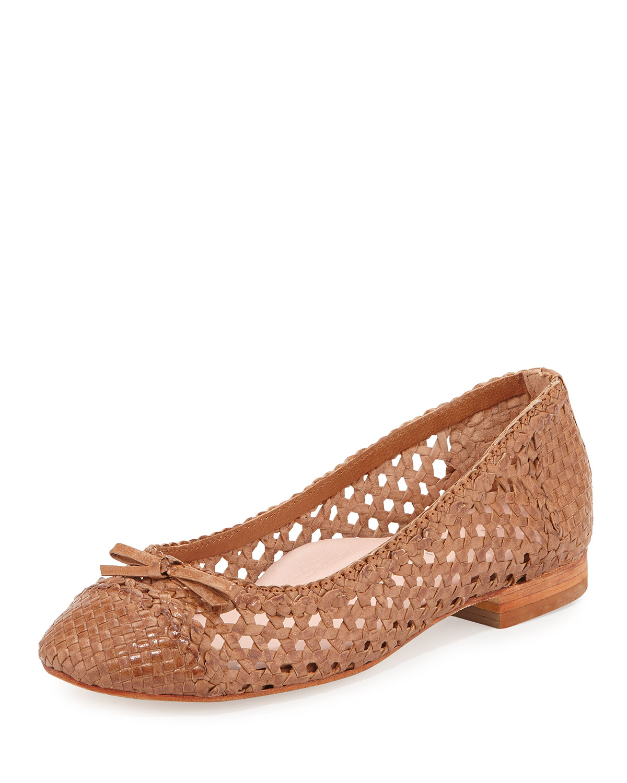 001b43a6d24 Lyst - Taryn Rose Bobo Woven-Leather Ballet Flats in Brown