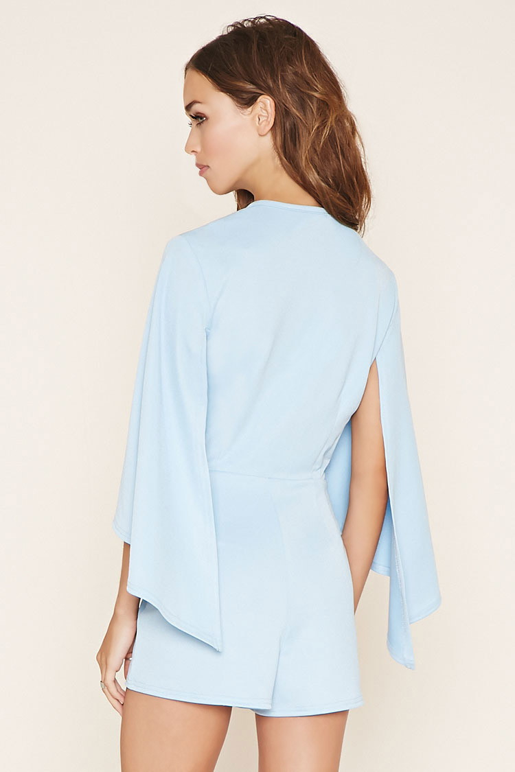 09d2e9b4d1c9 Lyst - Forever 21 Rare London Cape-sleeve Romper in Blue