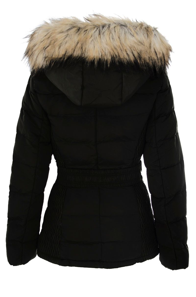 Quiz Black Padded Faux Fur Hood Jacket in Black | Lyst