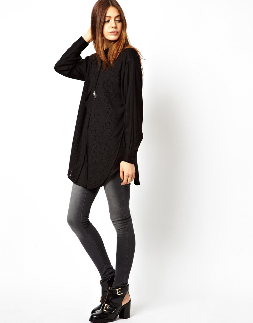 Lyst Asos Asos Boyfriend Shirt With Embroidered Overlay