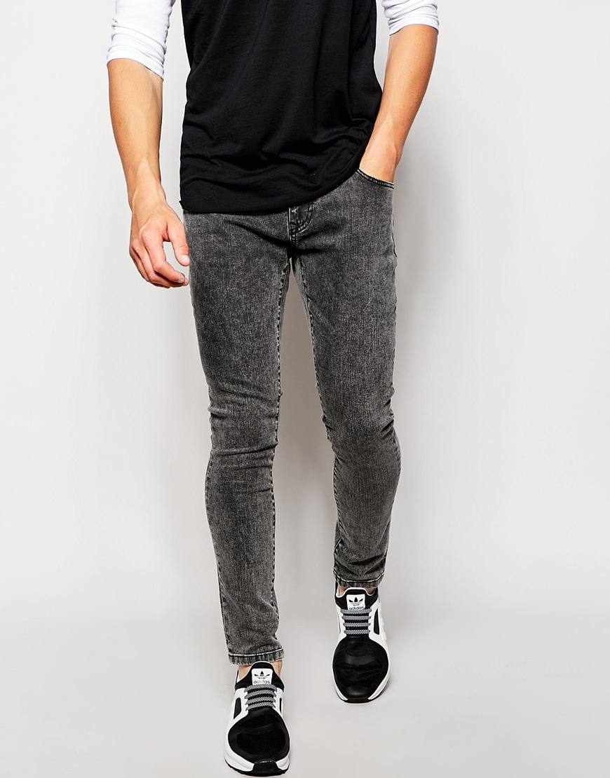 Brooklyn supply co. Jeans Super Skinny Fit Acid Wash Black in Gray ...