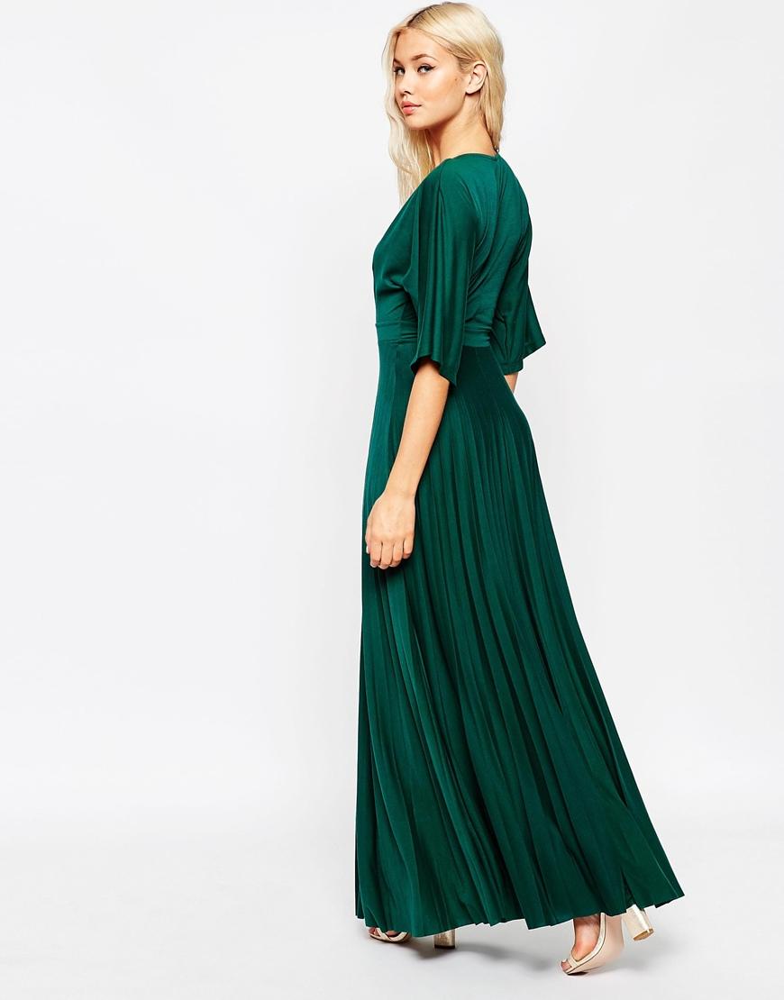 Asos Maxi Dress With Pleated Hem And Kimono Sleeve In