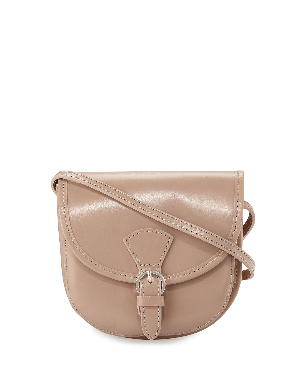 Lyst - Neiman Marcus Buckle Leather Saddle Bag in Natural 650bddce6a