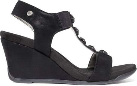 Anne Klein Lofty Sport Wedge Sandals In Black Lyst