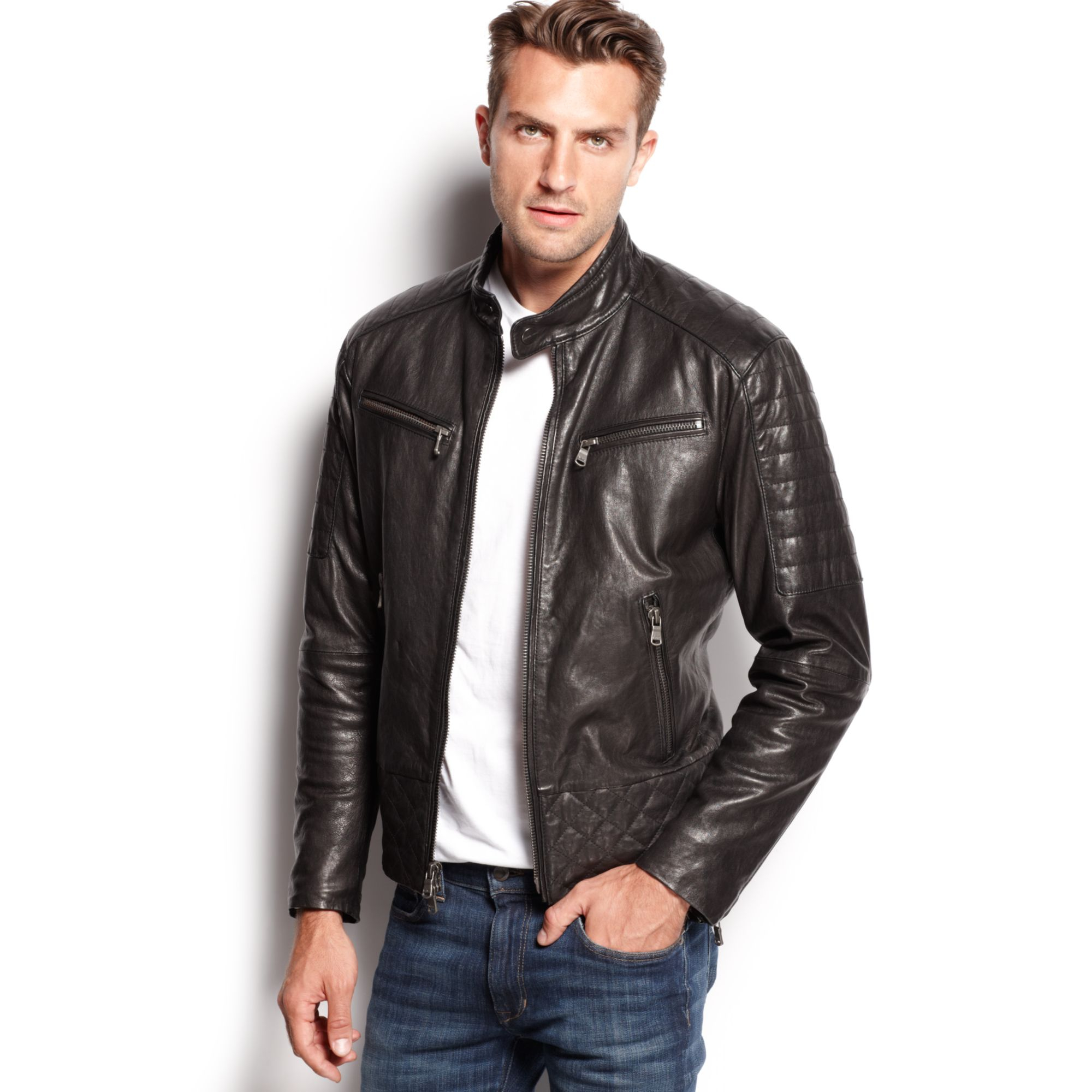 Michael Kors Quilted Washed Leather Jacket In Black For Men | Lyst