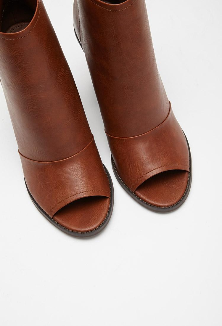 Tan Leather Peep Toe Shoe