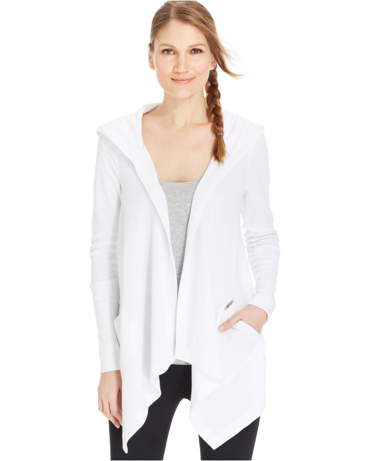 Calvin klein Performance Thermal Draped Hooded Cardigan in White ...