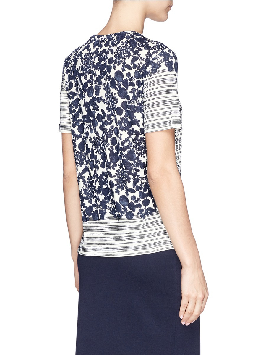 Tory burch 39 cathy 39 stripe floral cotton t shirt in blue lyst for Tory burch t shirt