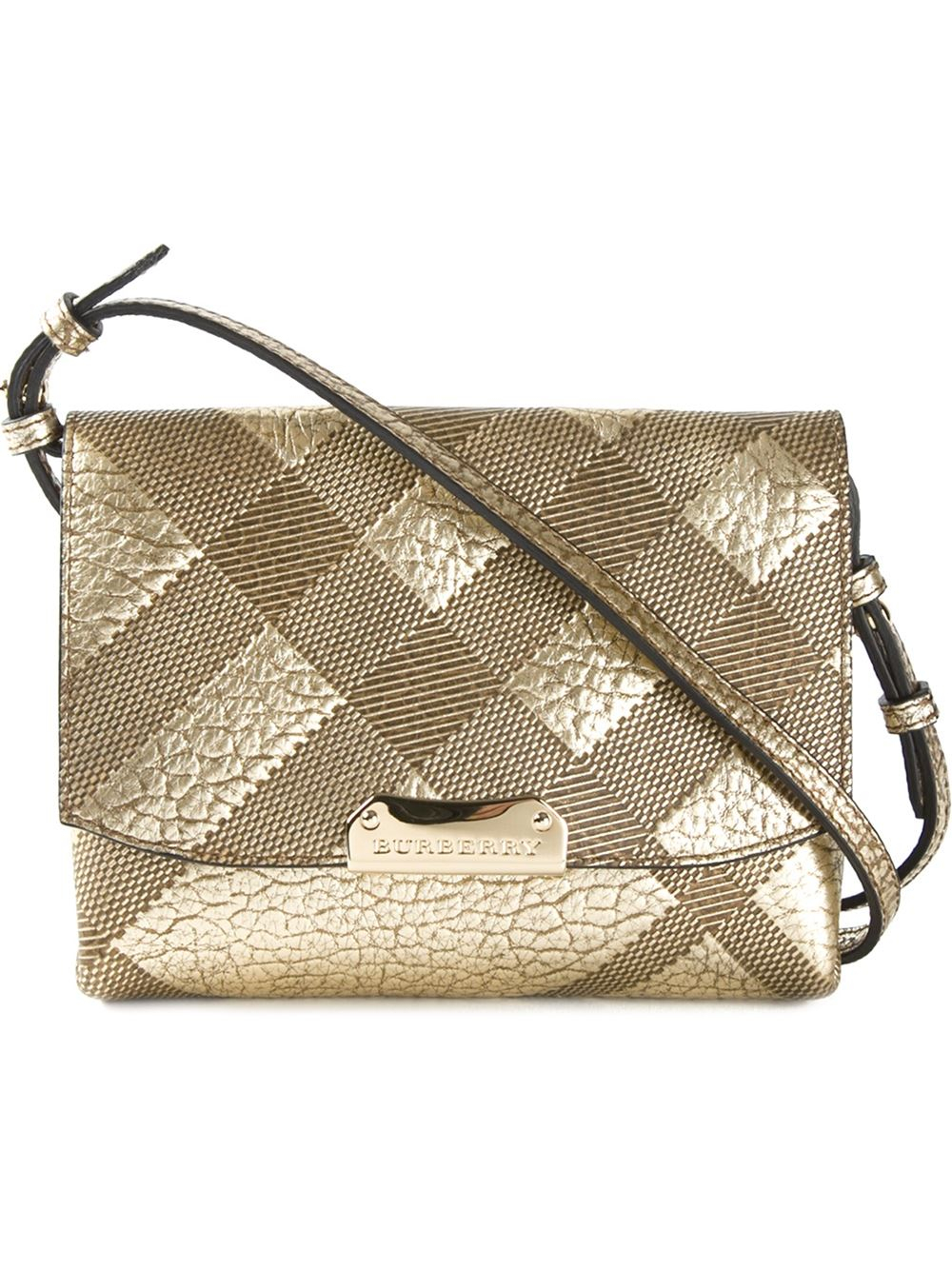 cfeb469d4ef2 Lyst - Burberry Embossed-Check Leather Cross-Body Bag in Metallic
