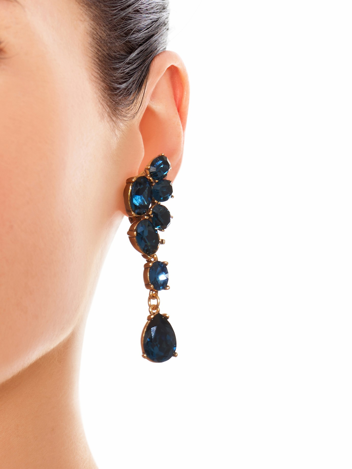 008921e37149 Lyst - Oscar de la Renta Swarovski-Crystal Asymmetric Earrings in Blue