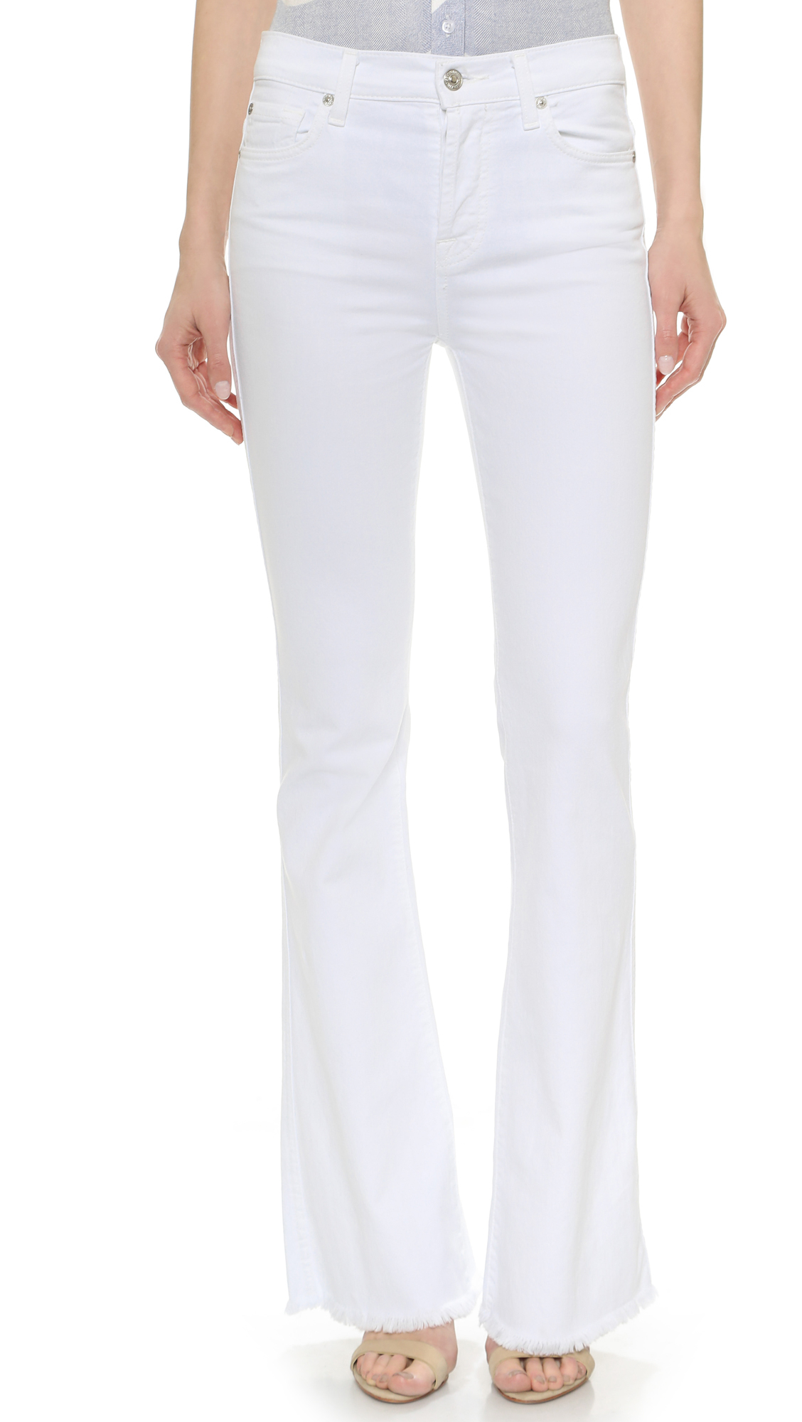 7 for all mankind High Waisted Vintage Flared Jeans - Runway White ...