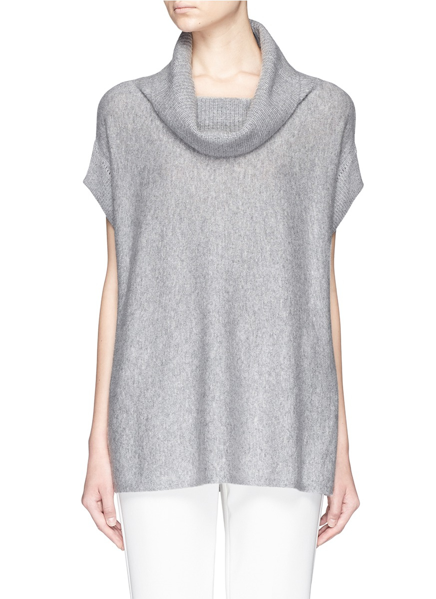 Vince Cowl Neck Cashmere Sweater in Gray | Lyst