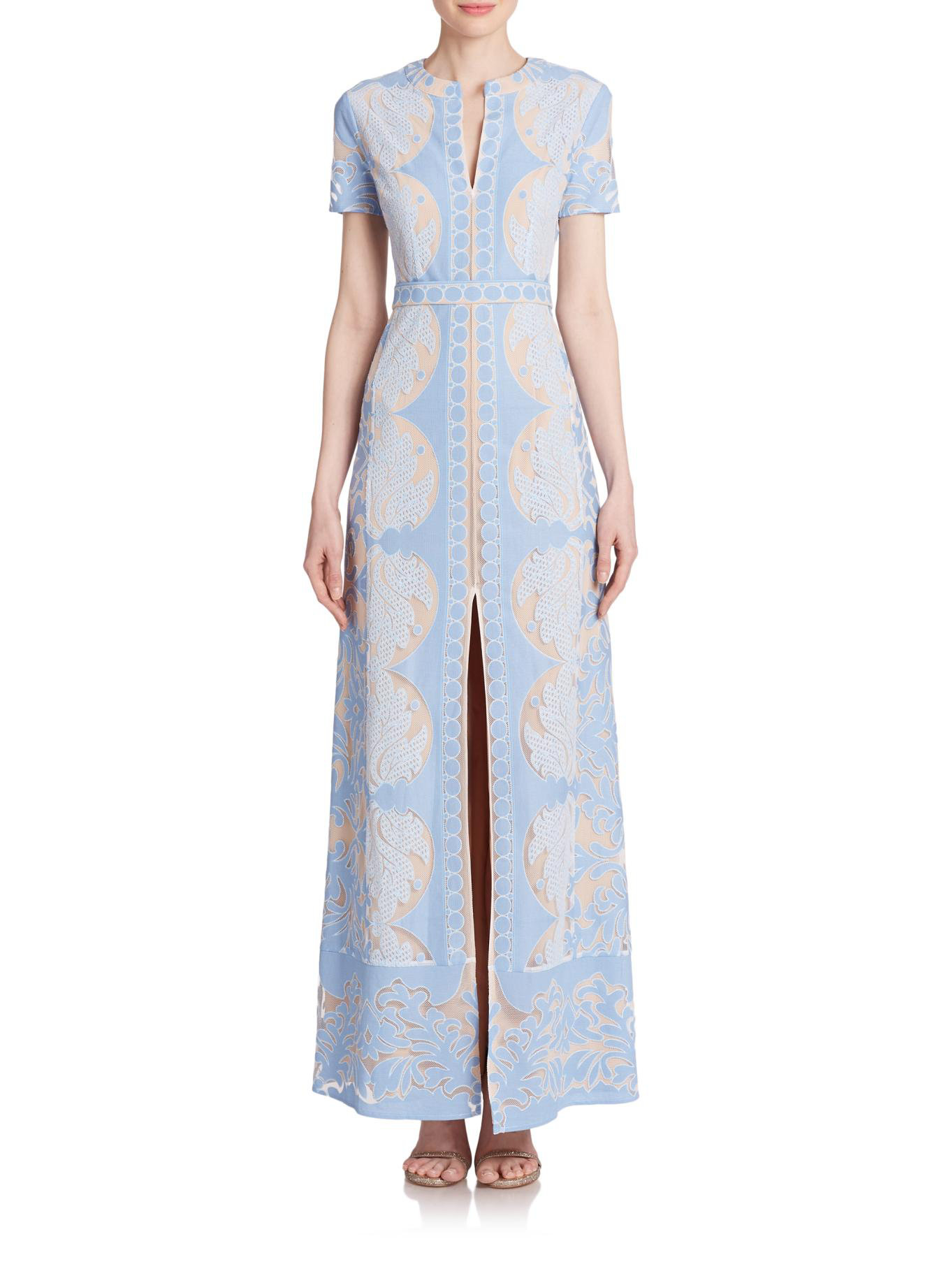 bf8600994f77 Lyst - BCBGMAXAZRIA Cailean Lace Maxi Dress in Blue