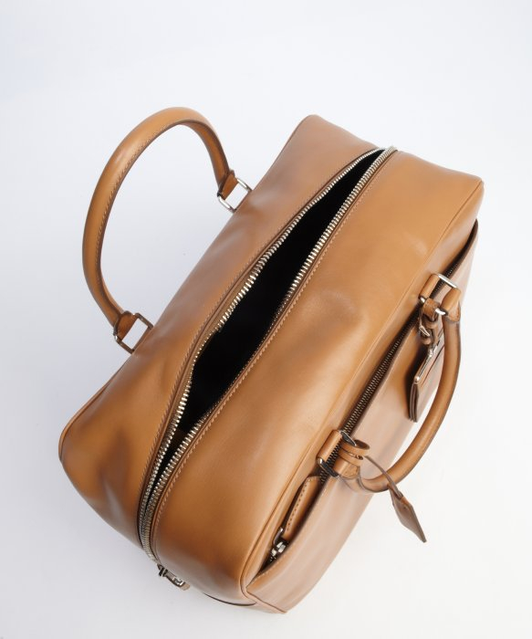 Prada Beige Calfskin Leather \u0026#39;Box\u0026#39; Top Handle Weekender in Beige ...