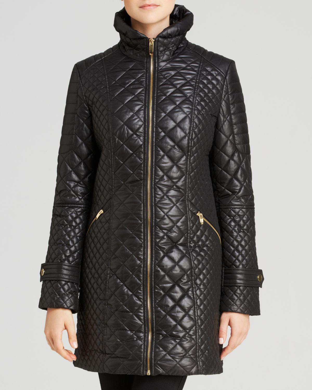 Via Spiga Zip Front Quilted Coat In Black