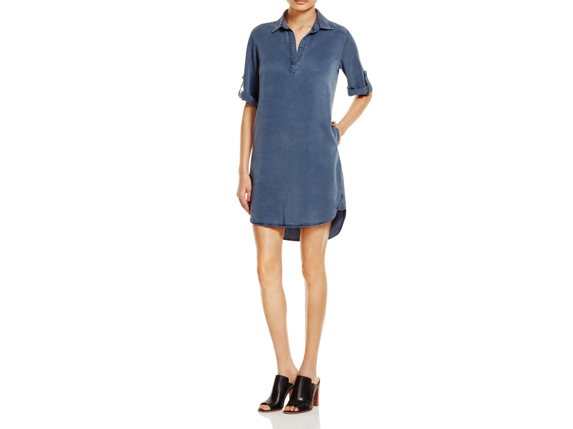 8645ed30729 Side Stitch Chambray Shirt Dress in Blue - Lyst
