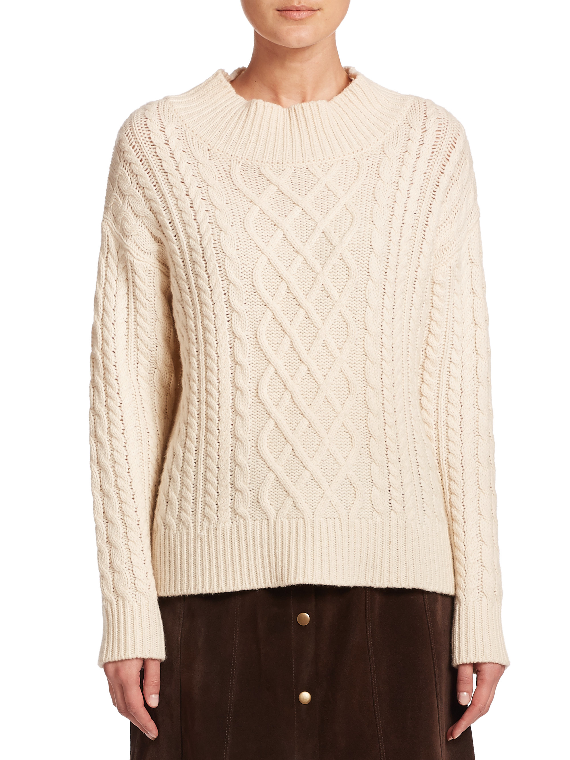 Frame Cable-knit Wool-blend Sweater in Natural | Lyst