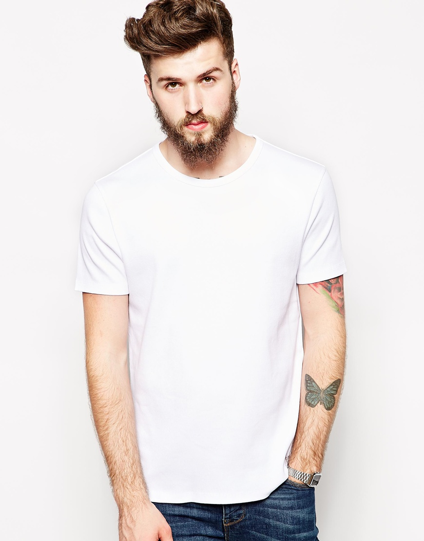 lyst asos t shirt with bound crew neck and ribbed jersey