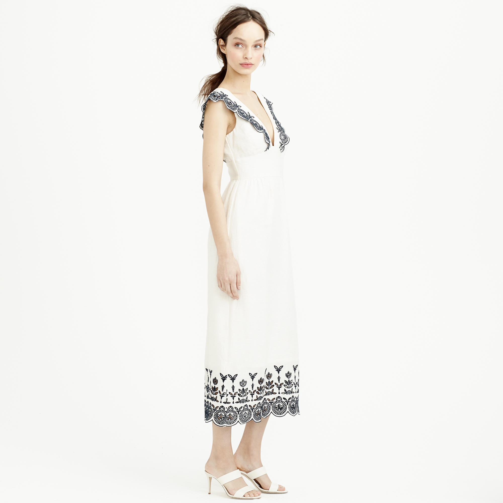 Lyst J Crew Collection Embroidered Linen Dress In White