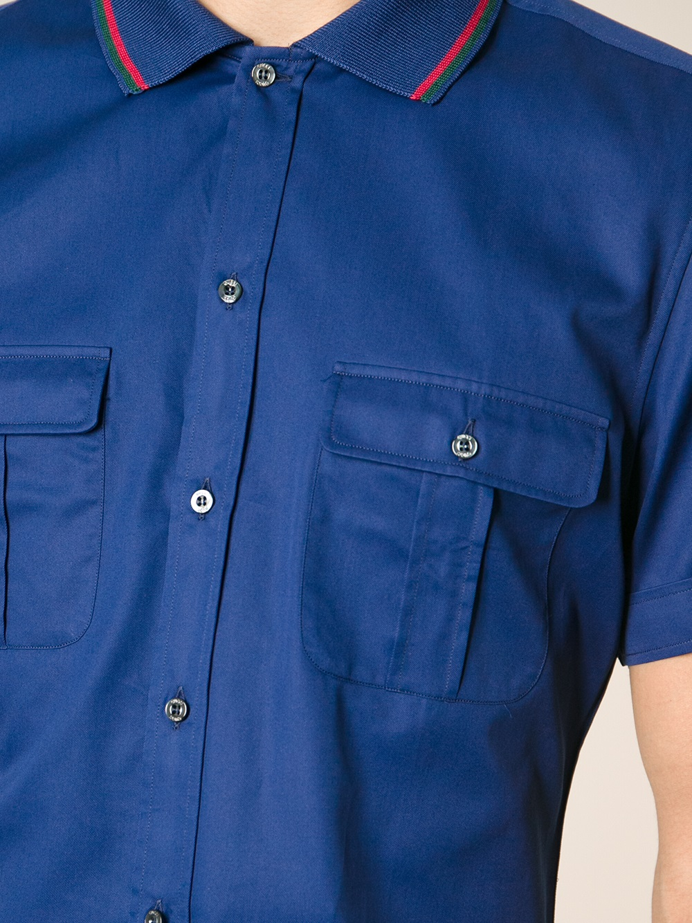 Gucci double pocket polo shirt in blue for men lyst for Two pocket polo shirt