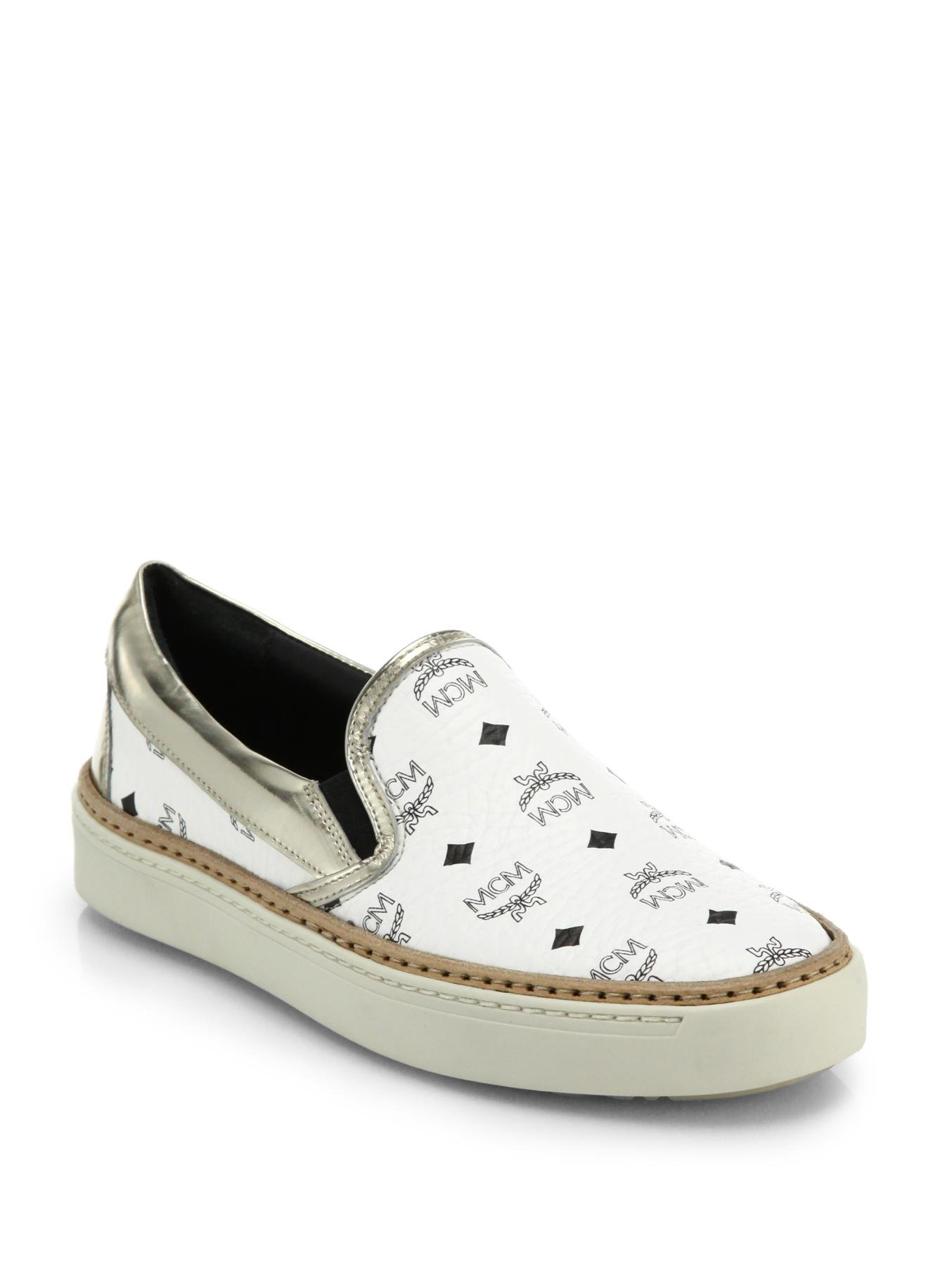 Mcm Visetos Logo Print Leather Slip On Sneakers In White