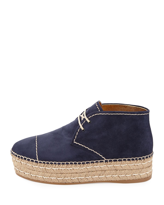 prada suede espadrille chukka boot in blue oltremare lyst