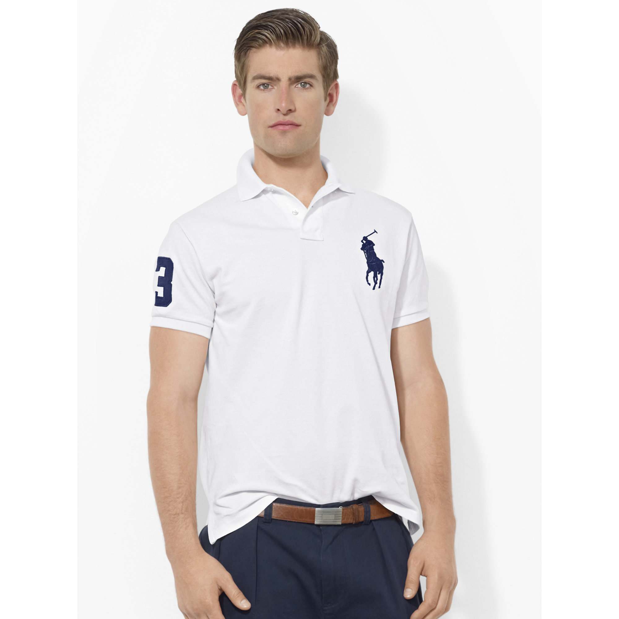 Mens Slim Polo Ralph Pony Fit Custom Shirt Lauren Big 0PNX8nwOk