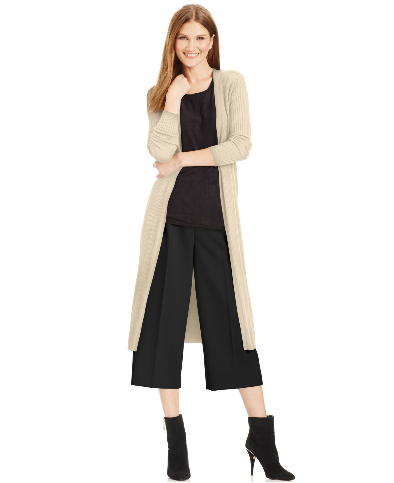 Vince camuto Ribbed Duster Cardigan in Brown | Lyst