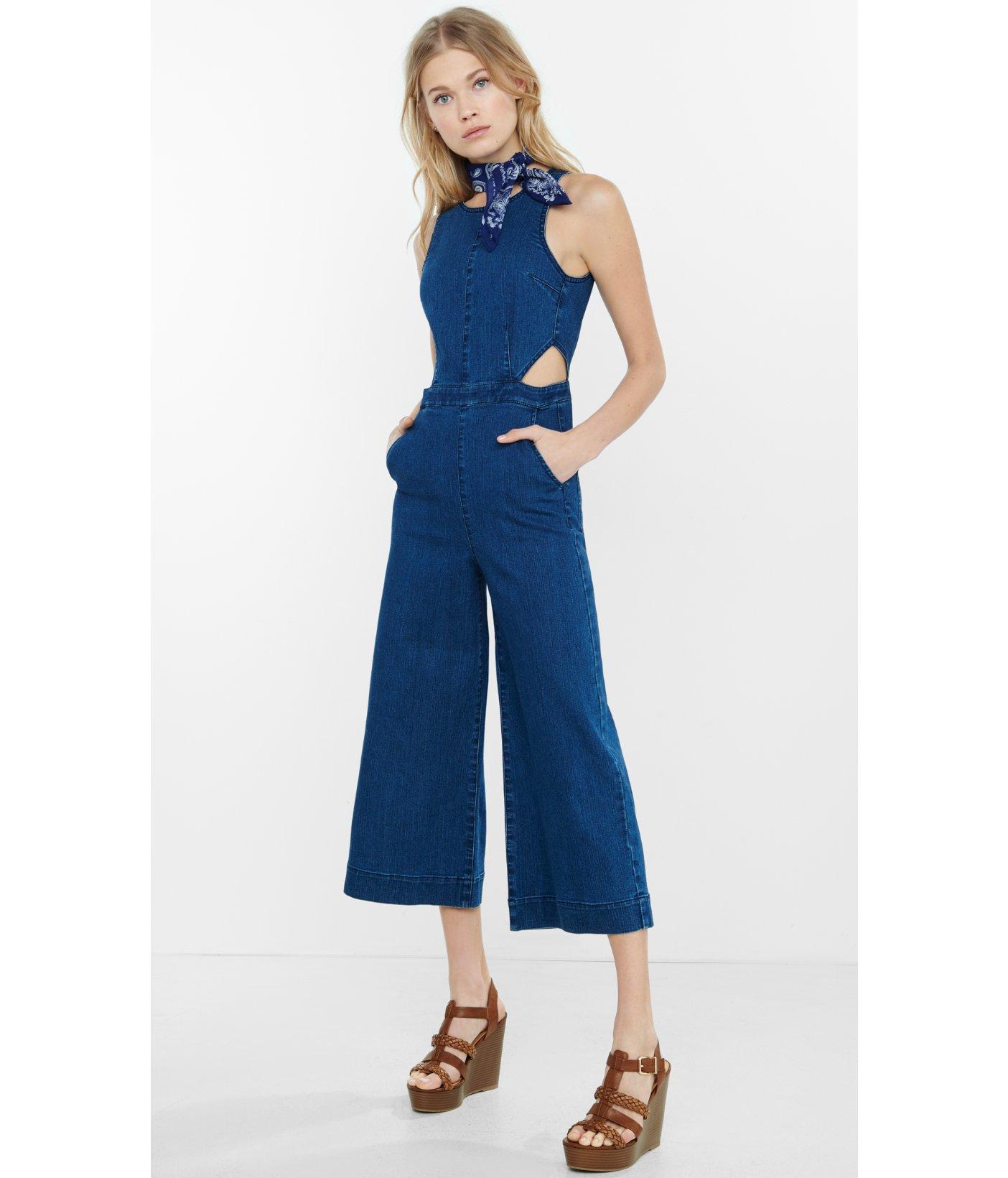 bf9d2e5780e Lyst - Express Sleeveless Denim Cut-out Culotte Jumpsuit in Blue