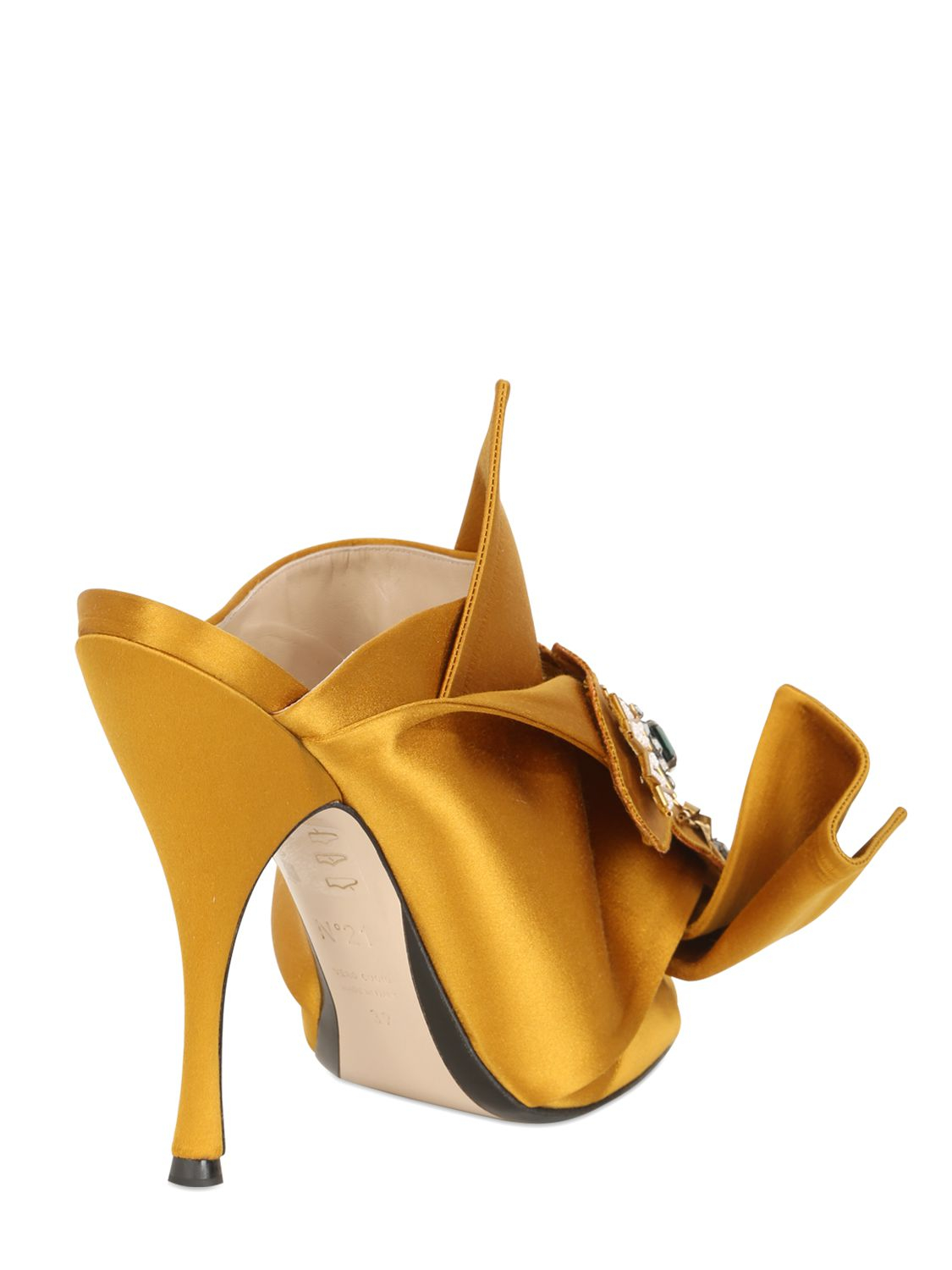 N 176 21 110mm Jeweled Silk Satin Sandals In Yellow Lyst