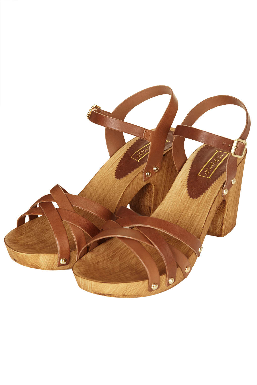 Lyst Topshop Nancy Chunky Wooden Sandals In Brown